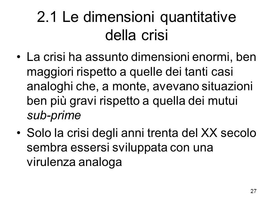 27 2.1 Le dimensioni quantitative della crisi La crisi ha assunto dimensioni enormi, ben maggiori rispetto a quelle dei tanti casi analoghi che, a mon