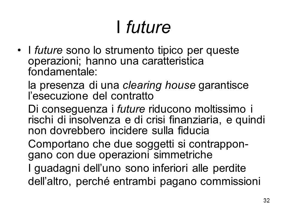 32 I future I future sono lo strumento tipico per queste operazioni; hanno una caratteristica fondamentale: la presenza di una clearing house garantis