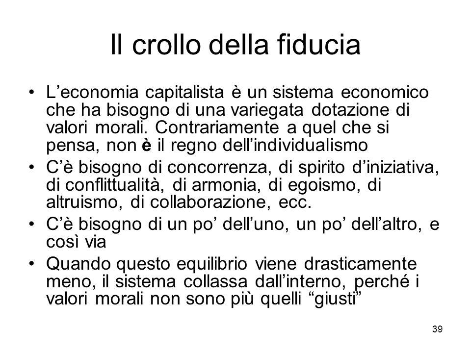 39 Il crollo della fiducia Leconomia capitalista è un sistema economico che ha bisogno di una variegata dotazione di valori morali. Contrariamente a q