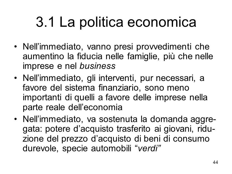 44 3.1 La politica economica Nellimmediato, vanno presi provvedimenti che aumentino la fiducia nelle famiglie, più che nelle imprese e nel business Ne
