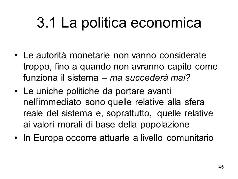 45 3.1 La politica economica Le autorità monetarie non vanno considerate troppo, fino a quando non avranno capito come funziona il sistema – ma succederà mai.