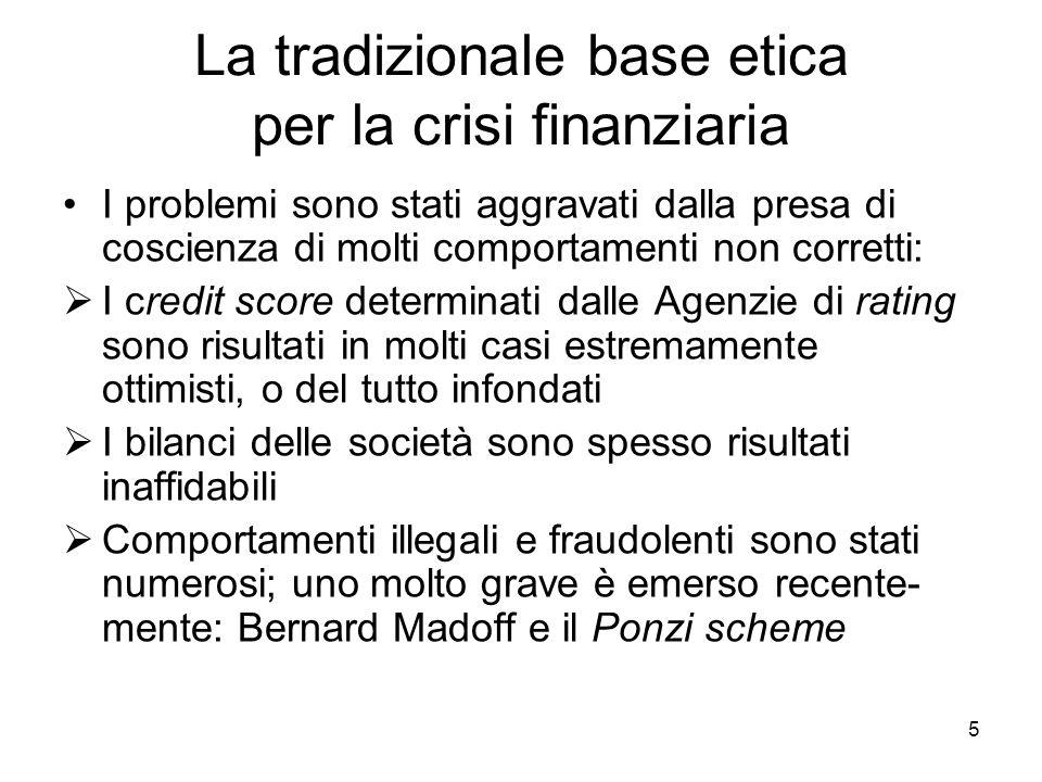 5 La tradizionale base etica per la crisi finanziaria I problemi sono stati aggravati dalla presa di coscienza di molti comportamenti non corretti: I