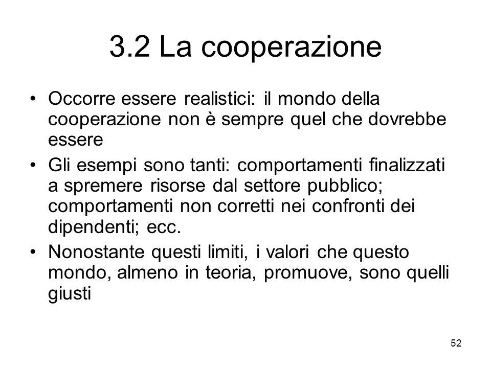 52 3.2 La cooperazione Occorre essere realistici: il mondo della cooperazione non è sempre quel che dovrebbe essere Gli esempi sono tanti: comportamen