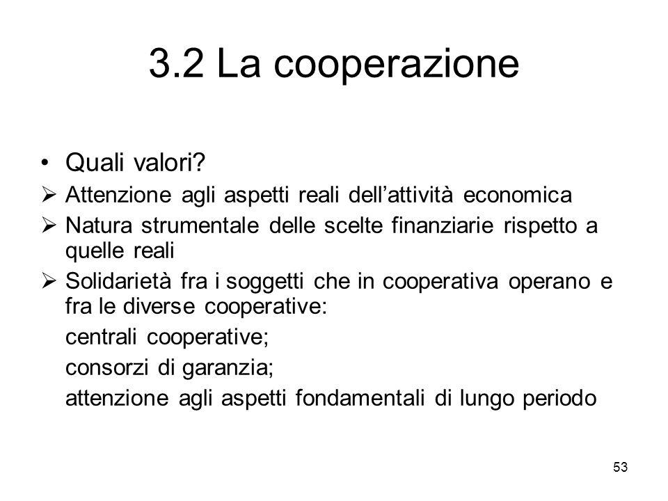 53 3.2 La cooperazione Quali valori? Attenzione agli aspetti reali dellattività economica Natura strumentale delle scelte finanziarie rispetto a quell