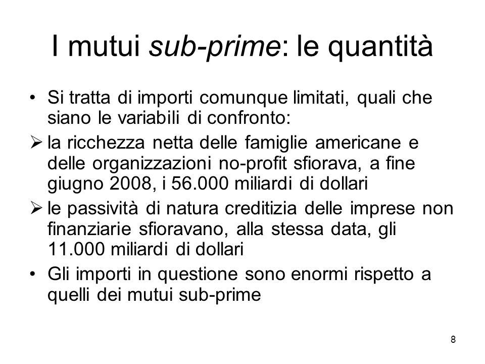 8 I mutui sub-prime: le quantità Si tratta di importi comunque limitati, quali che siano le variabili di confronto: la ricchezza netta delle famiglie
