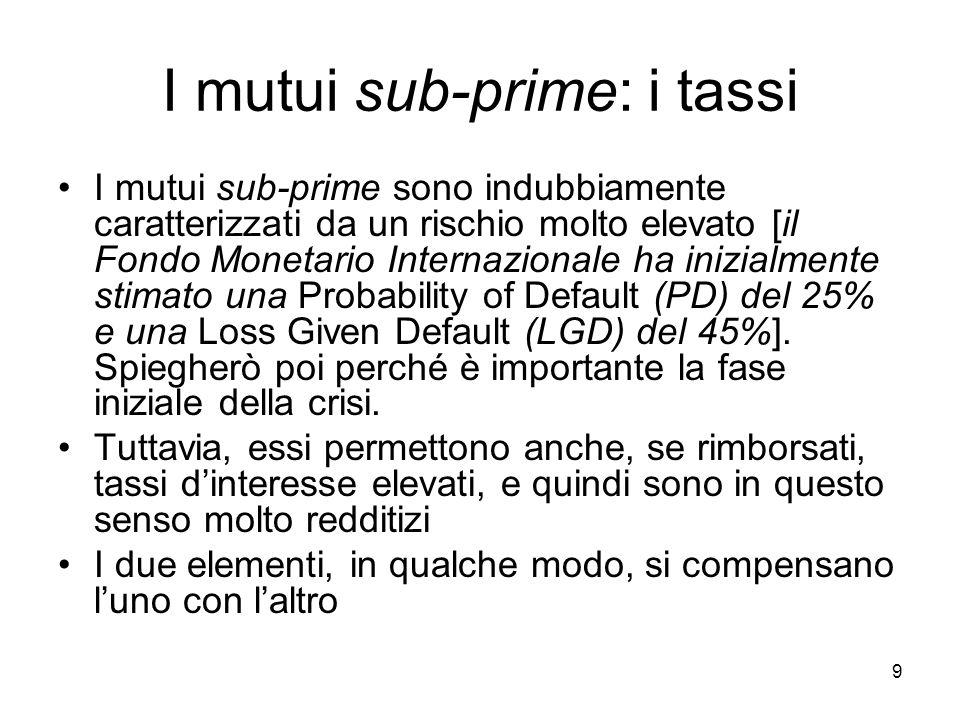 9 I mutui sub-prime: i tassi I mutui sub-prime sono indubbiamente caratterizzati da un rischio molto elevato [il Fondo Monetario Internazionale ha inizialmente stimato una Probability of Default (PD) del 25% e una Loss Given Default (LGD) del 45%].