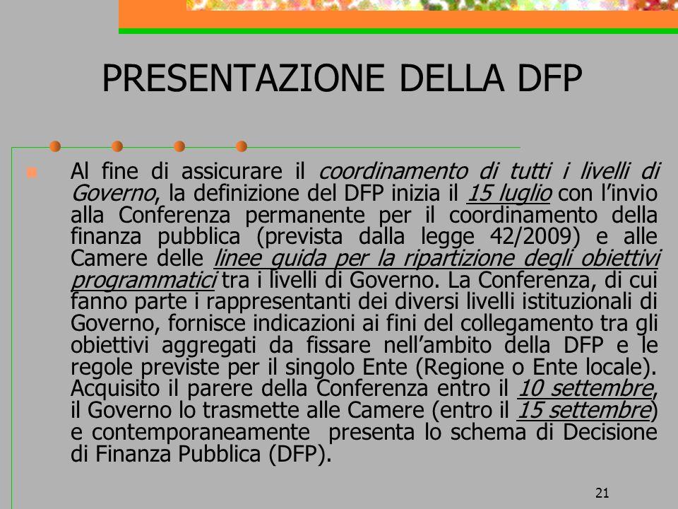 21 PRESENTAZIONE DELLA DFP Al fine di assicurare il coordinamento di tutti i livelli di Governo, la definizione del DFP inizia il 15 luglio con linvio