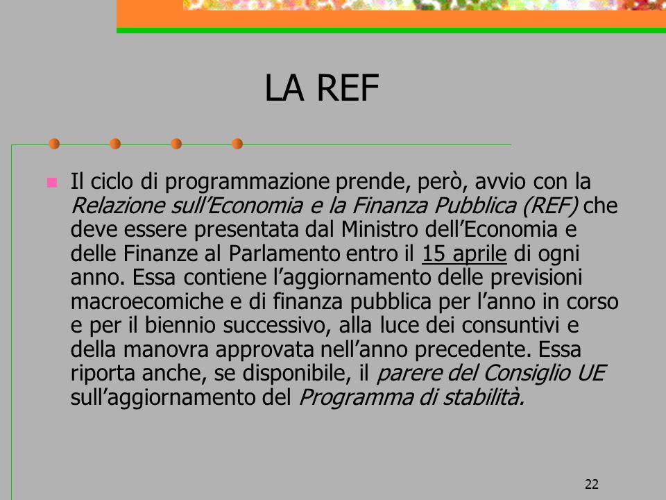 22 LA REF Il ciclo di programmazione prende, però, avvio con la Relazione sullEconomia e la Finanza Pubblica (REF) che deve essere presentata dal Ministro dellEconomia e delle Finanze al Parlamento entro il 15 aprile di ogni anno.