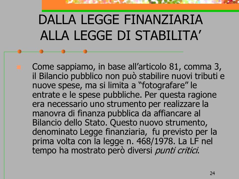 24 DALLA LEGGE FINANZIARIA ALLA LEGGE DI STABILITA Come sappiamo, in base allarticolo 81, comma 3, il Bilancio pubblico non può stabilire nuovi tribut