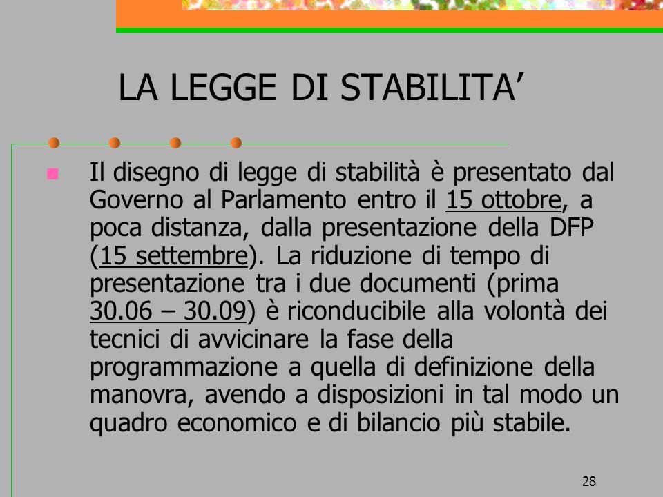 28 LA LEGGE DI STABILITA Il disegno di legge di stabilità è presentato dal Governo al Parlamento entro il 15 ottobre, a poca distanza, dalla presentazione della DFP (15 settembre).