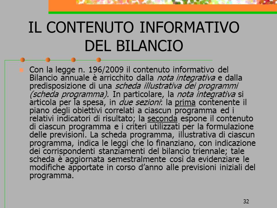 32 IL CONTENUTO INFORMATIVO DEL BILANCIO Con la legge n. 196/2009 il contenuto informativo del Bilancio annuale è arricchito dalla nota integrativa e