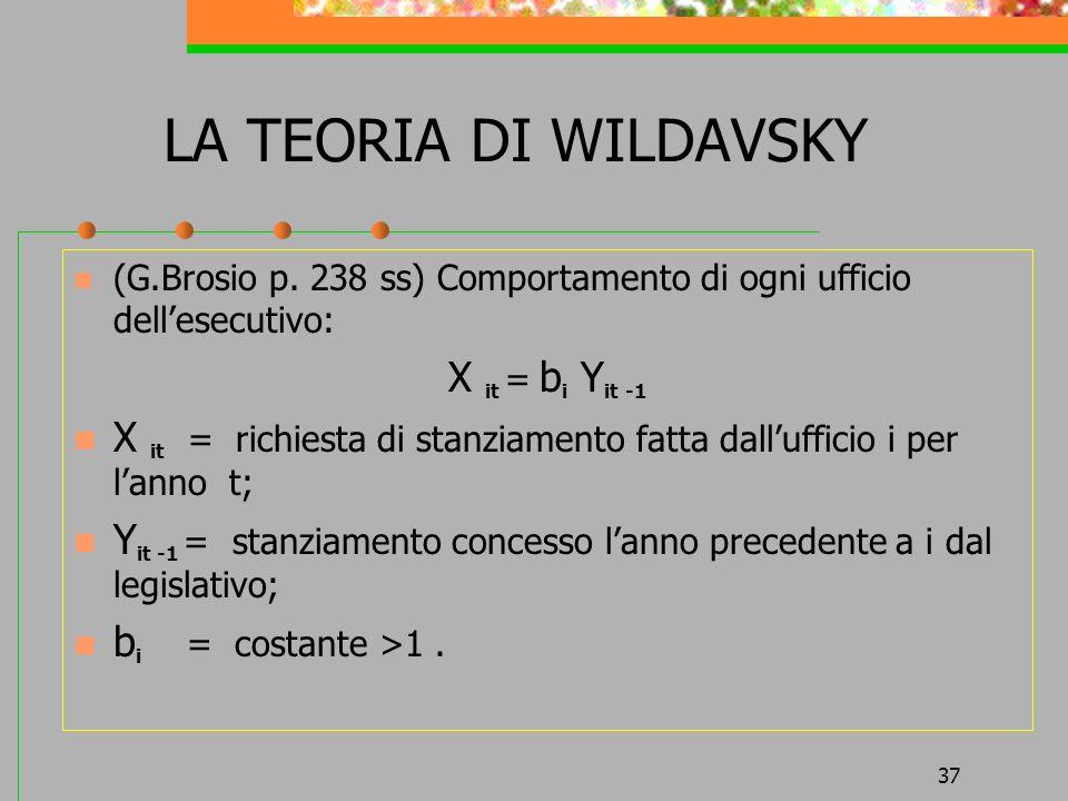 37 LA TEORIA DI WILDAVSKY (G.Brosio p. 238 ss) Comportamento di ogni ufficio dellesecutivo: X it = b i Y it -1 X it = richiesta di stanziamento fatta