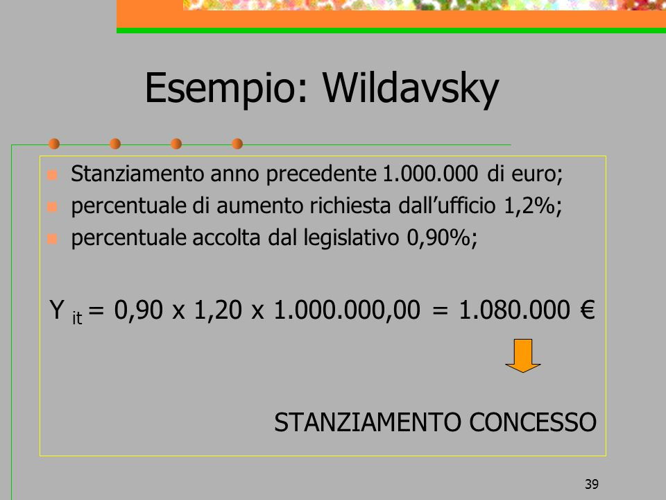 39 Esempio: Wildavsky Stanziamento anno precedente 1.000.000 di euro; percentuale di aumento richiesta dallufficio 1,2%; percentuale accolta dal legislativo 0,90%; Y it = 0,90 x 1,20 x 1.000.000,00 = 1.080.000 STANZIAMENTO CONCESSO