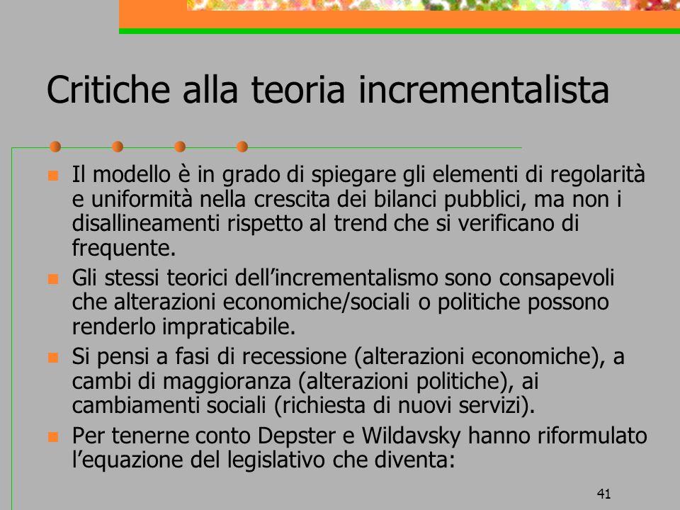 41 Critiche alla teoria incrementalista Il modello è in grado di spiegare gli elementi di regolarità e uniformità nella crescita dei bilanci pubblici,