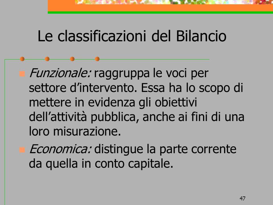 47 Le classificazioni del Bilancio Funzionale: raggruppa le voci per settore dintervento.