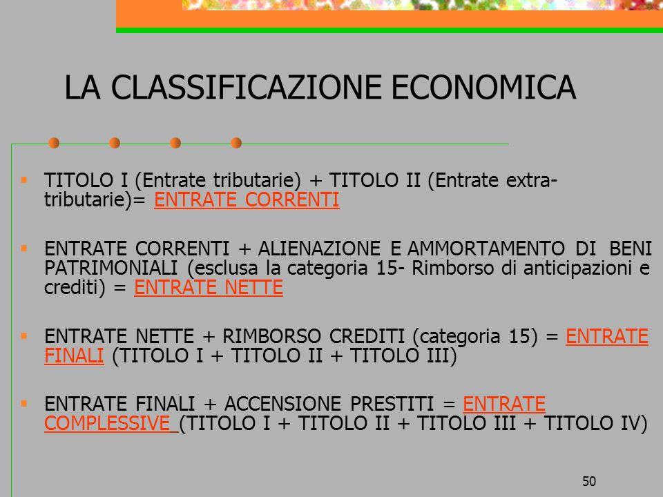 50 LA CLASSIFICAZIONE ECONOMICA TITOLO I (Entrate tributarie) + TITOLO II (Entrate extra- tributarie)= ENTRATE CORRENTI ENTRATE CORRENTI + ALIENAZIONE