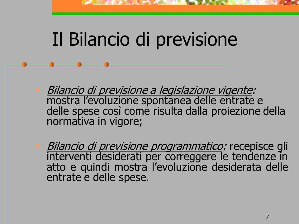 7 Il Bilancio di previsione Bilancio di previsione a legislazione vigente: mostra levoluzione spontanea delle entrate e delle spese così come risulta