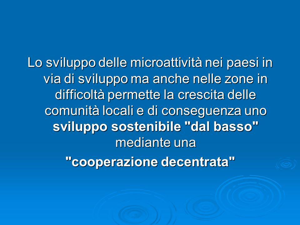Lo sviluppo delle microattività nei paesi in via di sviluppo ma anche nelle zone in difficoltà permette la crescita delle comunità locali e di consegu