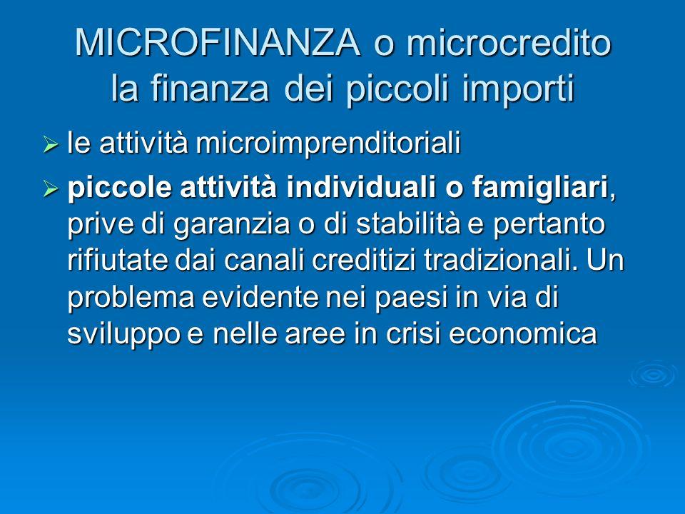 MICROFINANZA o microcredito la finanza dei piccoli importi le attività microimprenditoriali le attività microimprenditoriali piccole attività individu