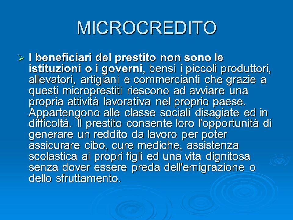 Lo sviluppo delle microattività nei paesi in via di sviluppo ma anche nelle zone in difficoltà permette la crescita delle comunità locali e di conseguenza uno sviluppo sostenibile dal basso mediante una cooperazione decentrata