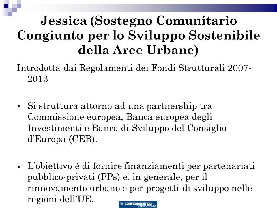 Jessica (Sostegno Comunitario Congiunto per lo Sviluppo Sostenibile della Aree Urbane) Introdotta dai Regolamenti dei Fondi Strutturali 2007- 2013 Si struttura attorno ad una partnership tra Commissione europea, Banca europea degli Investimenti e Banca di Sviluppo del Consiglio dEuropa (CEB).