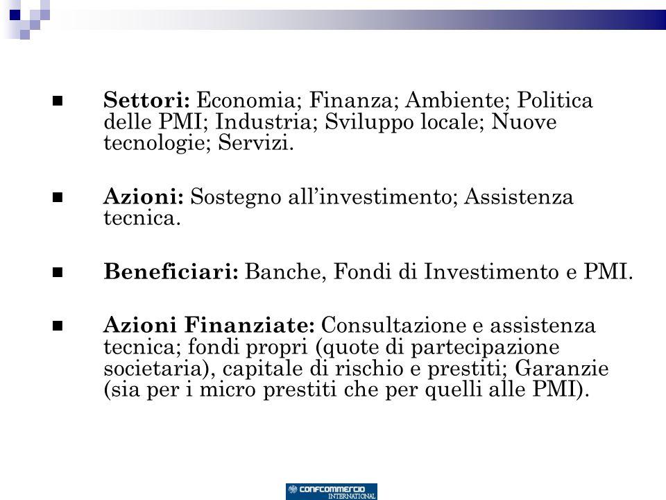 Settori: Economia; Finanza; Ambiente; Politica delle PMI; Industria; Sviluppo locale; Nuove tecnologie; Servizi.
