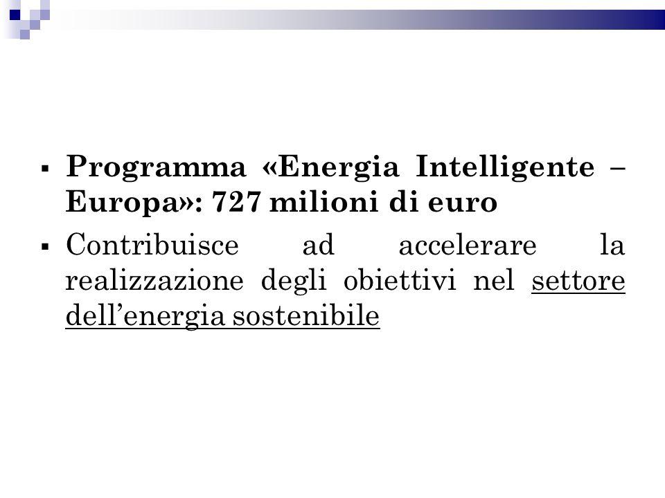 Programma «Energia Intelligente – Europa»: 727 milioni di euro Contribuisce ad accelerare la realizzazione degli obiettivi nel settore dellenergia sostenibile