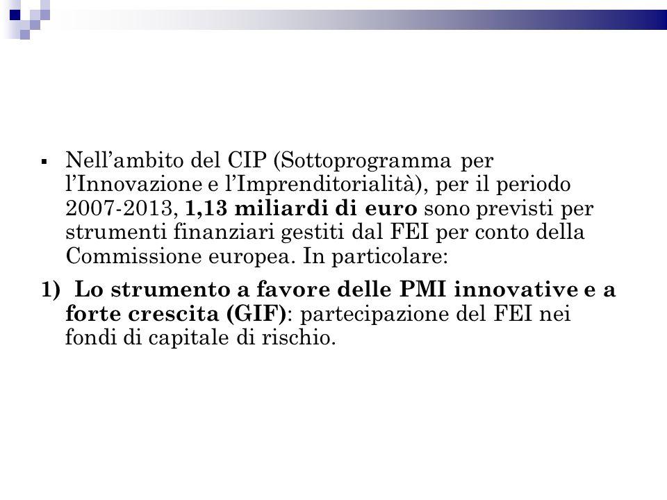Nellambito del CIP (Sottoprogramma per lInnovazione e lImprenditorialità), per il periodo 2007-2013, 1,13 miliardi di euro sono previsti per strumenti finanziari gestiti dal FEI per conto della Commissione europea.