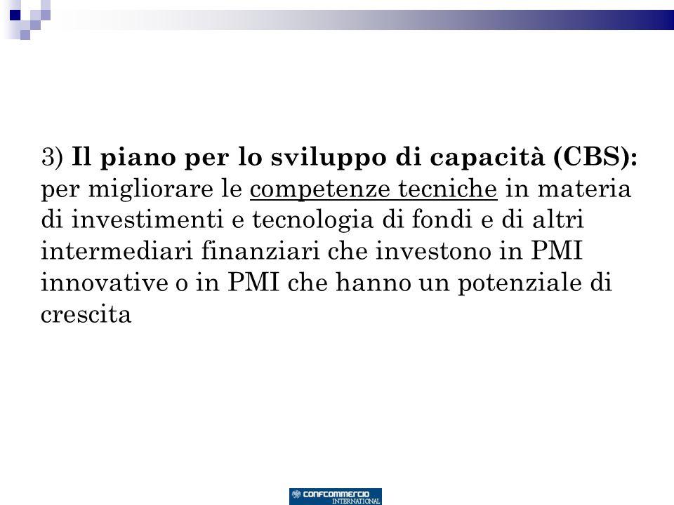 3) Il piano per lo sviluppo di capacità (CBS): per migliorare le competenze tecniche in materia di investimenti e tecnologia di fondi e di altri intermediari finanziari che investono in PMI innovative o in PMI che hanno un potenziale di crescita