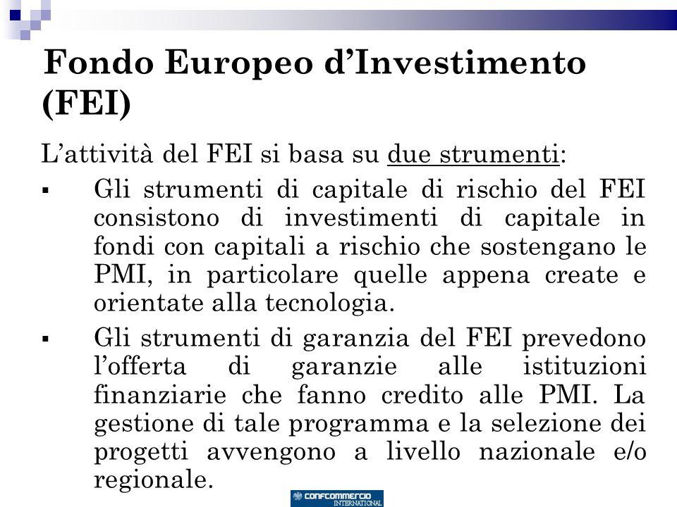 Fondo Europeo dInvestimento (FEI) Lattività del FEI si basa su due strumenti: Gli strumenti di capitale di rischio del FEI consistono di investimenti di capitale in fondi con capitali a rischio che sostengano le PMI, in particolare quelle appena create e orientate alla tecnologia.