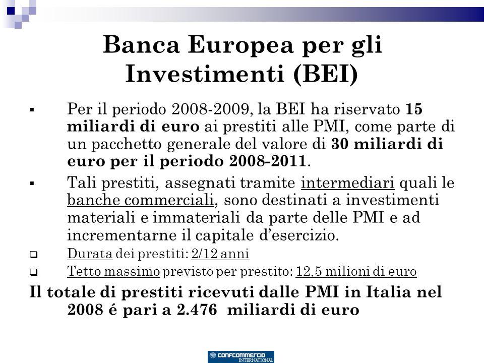 Banca Europea per gli Investimenti (BEI) Per il periodo 2008-2009, la BEI ha riservato 15 miliardi di euro ai prestiti alle PMI, come parte di un pacchetto generale del valore di 30 miliardi di euro per il periodo 2008-2011.