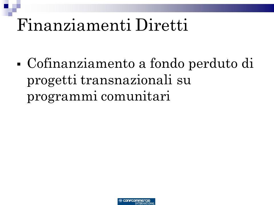 Finanziamenti Diretti Cofinanziamento a fondo perduto di progetti transnazionali su programmi comunitari