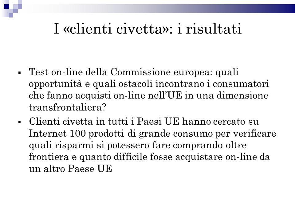 I «clienti civetta»: i risultati Test on-line della Commissione europea: quali opportunità e quali ostacoli incontrano i consumatori che fanno acquisti on-line nellUE in una dimensione transfrontaliera.