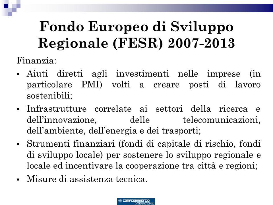 Fondo Europeo di Sviluppo Regionale (FESR) 2007-2013 Finanzia: Aiuti diretti agli investimenti nelle imprese (in particolare PMI) volti a creare posti di lavoro sostenibili; Infrastrutture correlate ai settori della ricerca e dellinnovazione, delle telecomunicazioni, dellambiente, dellenergia e dei trasporti; Strumenti finanziari (fondi di capitale di rischio, fondi di sviluppo locale) per sostenere lo sviluppo regionale e locale ed incentivare la cooperazione tra città e regioni; Misure di assistenza tecnica.