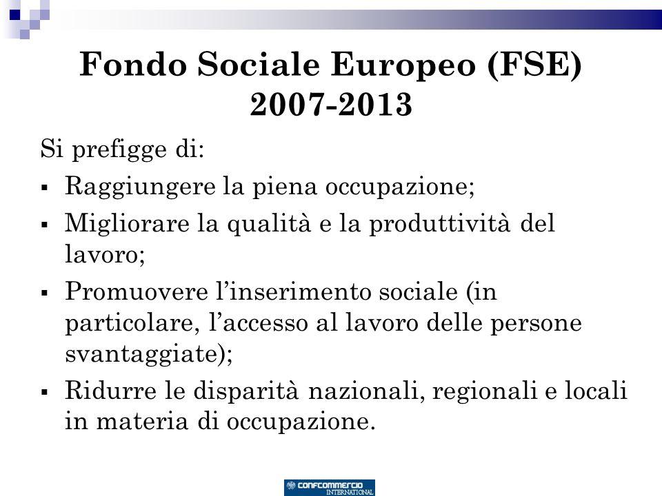 Fondo Sociale Europeo (FSE) 2007-2013 Si prefigge di: Raggiungere la piena occupazione; Migliorare la qualità e la produttività del lavoro; Promuovere linserimento sociale (in particolare, laccesso al lavoro delle persone svantaggiate); Ridurre le disparità nazionali, regionali e locali in materia di occupazione.