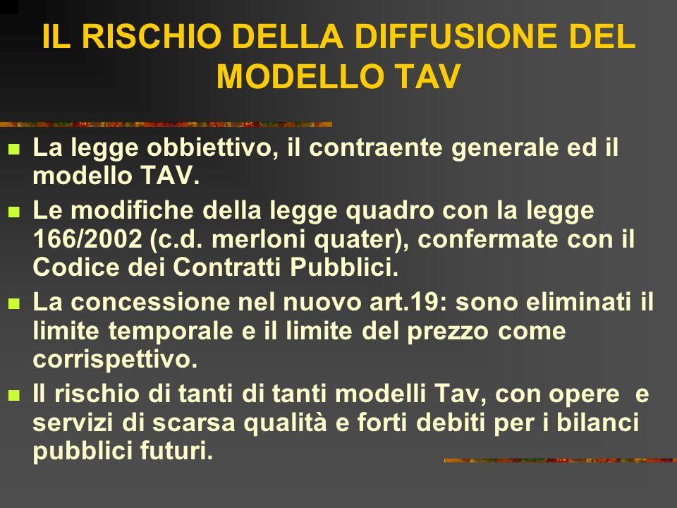 IL RISCHIO DELLA DIFFUSIONE DEL MODELLO TAV La legge obbiettivo, il contraente generale ed il modello TAV. Le modifiche della legge quadro con la legg