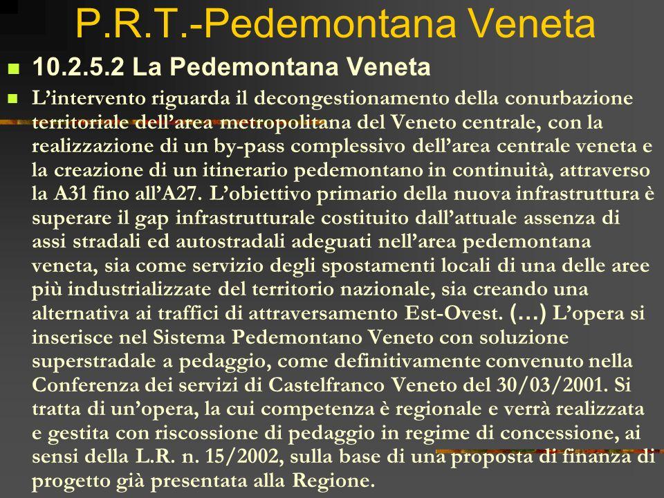 P.R.T.-Pedemontana Veneta 10.2.5.2 La Pedemontana Veneta Lintervento riguarda il decongestionamento della conurbazione territoriale dellarea metropoli