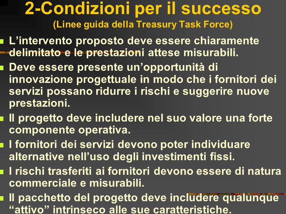 2-Condizioni per il successo (Linee guida della Treasury Task Force) Lintervento proposto deve essere chiaramente delimitato e le prestazioni attese m