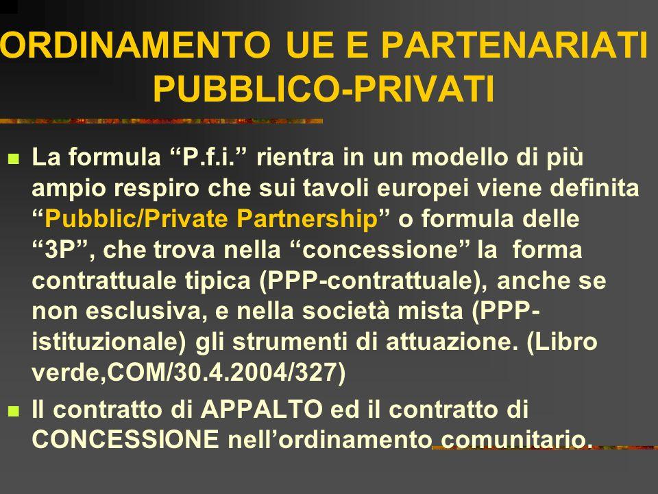 ORDINAMENTO UE E PARTENARIATI PUBBLICO-PRIVATI La formula P.f.i. rientra in un modello di più ampio respiro che sui tavoli europei viene definitaPubbl