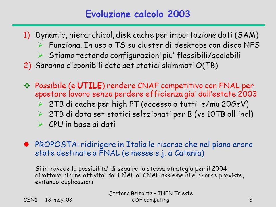 CSN1 13-may-03 Stefano Belforte – INFN Trieste CDF computing3 Evoluzione calcolo 2003 1)Dynamic, hierarchical, disk cache per importazione dati (SAM) Funziona.