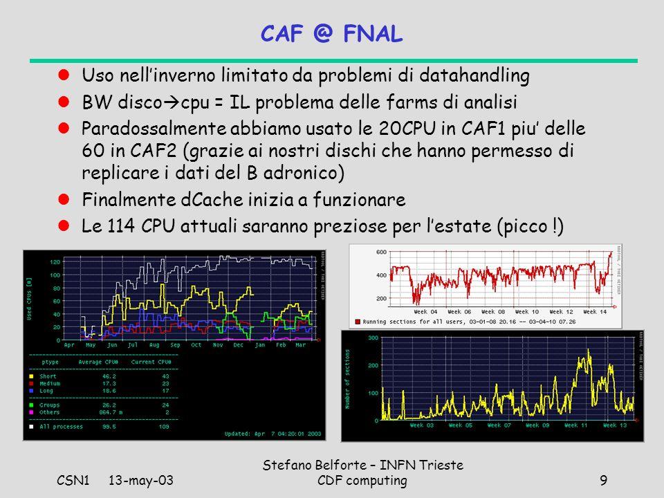CSN1 13-may-03 Stefano Belforte – INFN Trieste CDF computing9 CAF @ FNAL Uso nellinverno limitato da problemi di datahandling BW disco cpu = IL problema delle farms di analisi Paradossalmente abbiamo usato le 20CPU in CAF1 piu delle 60 in CAF2 (grazie ai nostri dischi che hanno permesso di replicare i dati del B adronico) Finalmente dCache inizia a funzionare Le 114 CPU attuali saranno preziose per lestate (picco !)