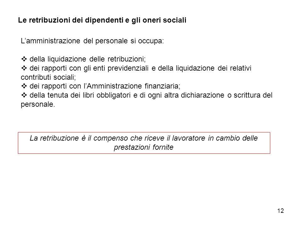 12 Le retribuzioni dei dipendenti e gli oneri sociali La retribuzione è il compenso che riceve il lavoratore in cambio delle prestazioni fornite Lammi