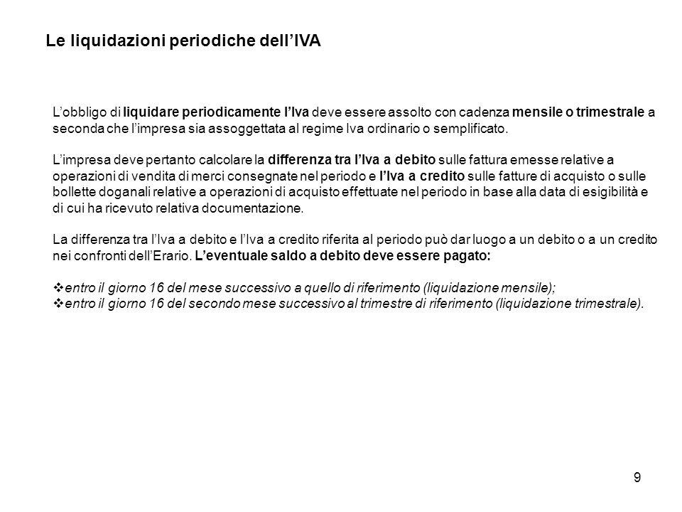 9 Le liquidazioni periodiche dellIVA Lobbligo di liquidare periodicamente lIva deve essere assolto con cadenza mensile o trimestrale a seconda che lim