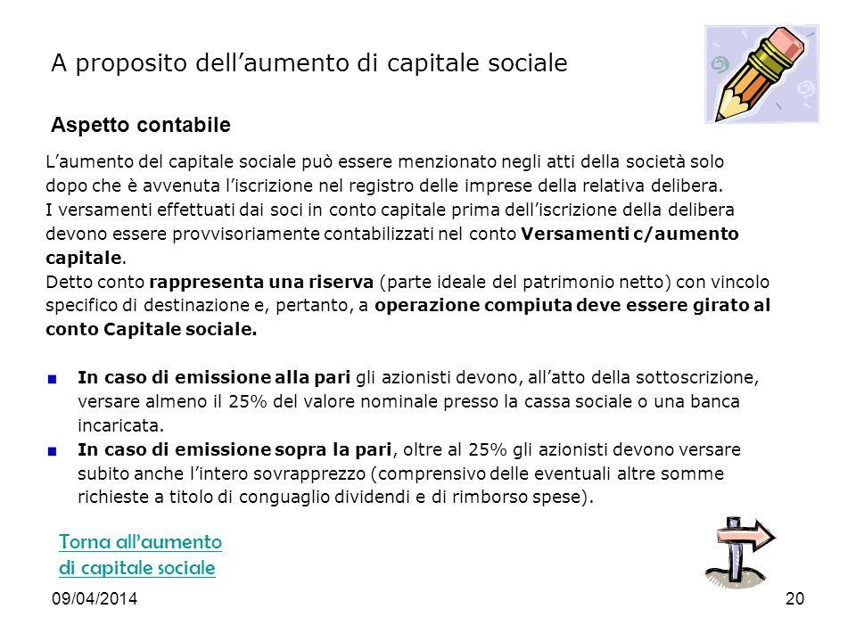 09/04/201420 Laumento del capitale sociale può essere menzionato negli atti della società solo dopo che è avvenuta liscrizione nel registro delle imprese della relativa delibera.