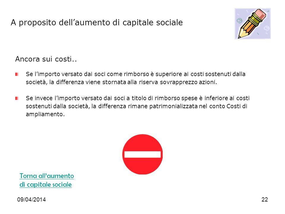 09/04/201422 A proposito dellaumento di capitale sociale Ancora sui costi..