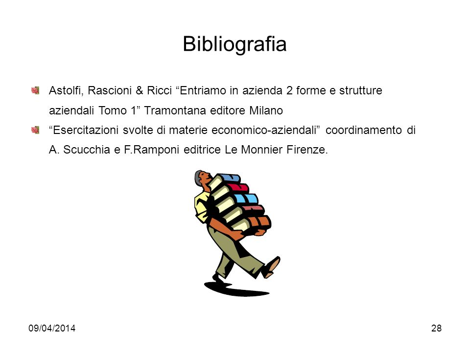 09/04/201428 Bibliografia Astolfi, Rascioni & Ricci Entriamo in azienda 2 forme e strutture aziendali Tomo 1 Tramontana editore Milano Esercitazioni svolte di materie economico-aziendali coordinamento di A.