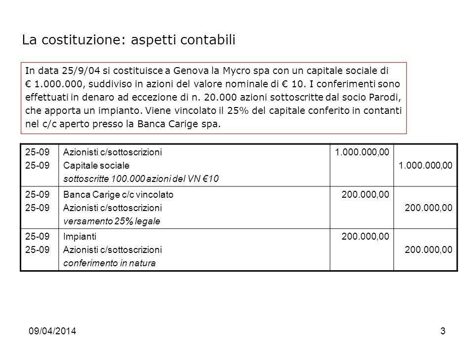 09/04/20143 La costituzione: aspetti contabili In data 25/9/04 si costituisce a Genova la Mycro spa con un capitale sociale di 1.000.000, suddiviso in azioni del valore nominale di 10.