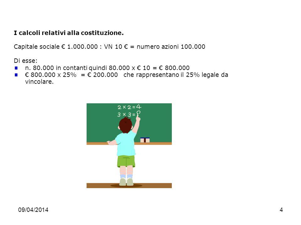 09/04/20144 I calcoli relativi alla costituzione.