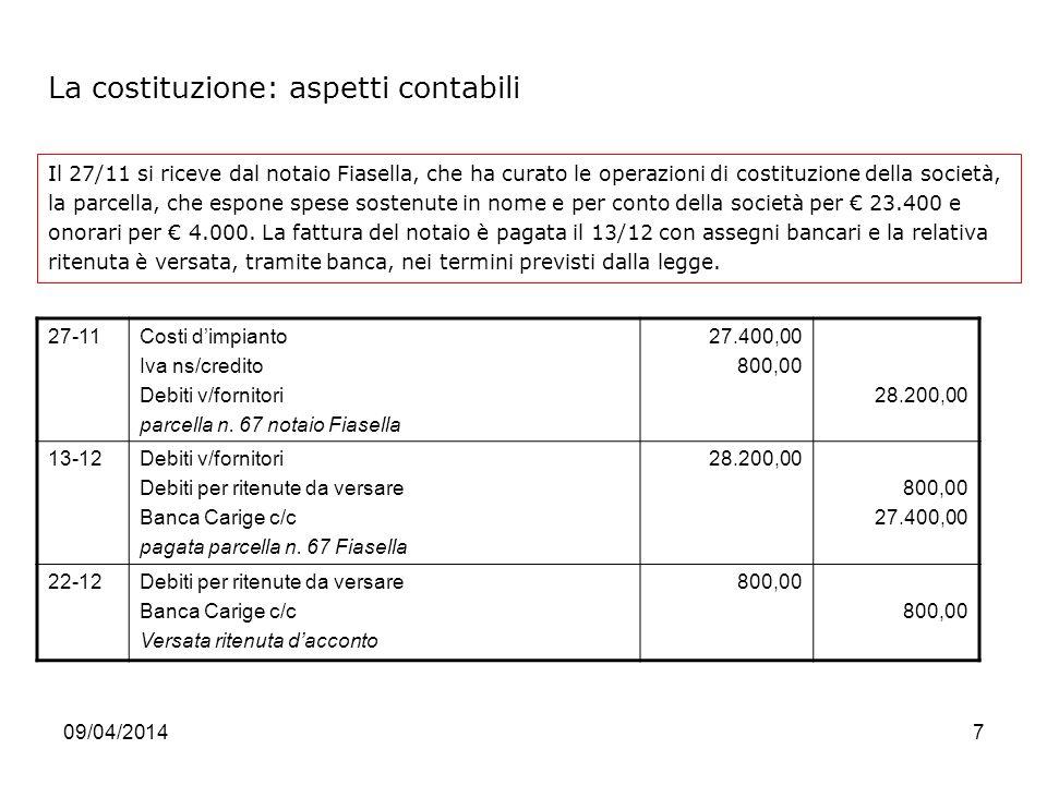 09/04/20147 Il 27/11 si riceve dal notaio Fiasella, che ha curato le operazioni di costituzione della società, la parcella, che espone spese sostenute in nome e per conto della società per 23.400 e onorari per 4.000.