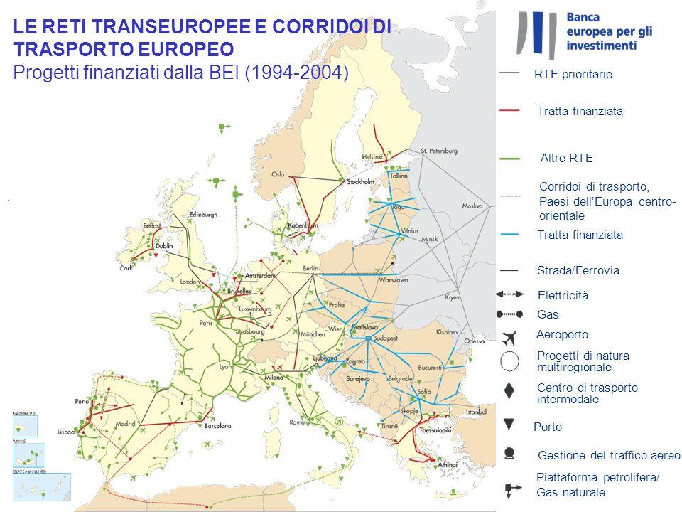 LE RETI TRANSEUROPEE E CORRIDOI DI TRASPORTO EUROPEO Progetti finanziati dalla BEI (1994-2004) Piattaforma petrolifera/ Gas naturale RTE prioritarie T